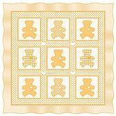 Teddy Bear Baby Quilt, Yellow