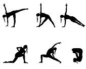 Yoga series black silhouettes