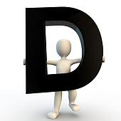 3D Human character holding black letter D, small people