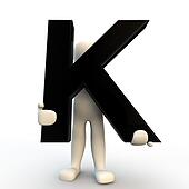 3D Human character holding black letter K, small people