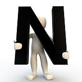 3D Human character holding black letter N, small people