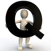3D Human character holding black letter Q, small people