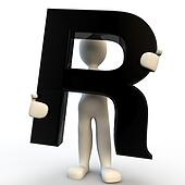 3D Human character holding black letter R, small people