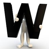 3D Human character holding black letter W, small people
