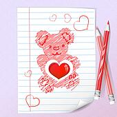 Color pencils and teddy bear