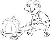 Men driven truck with pumpkin