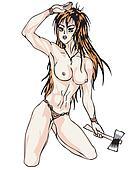 Nude girl with axe