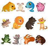 Set of twelve funny animals