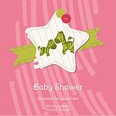 Baby Shower Card with Zebra - with place for your text - in vector
