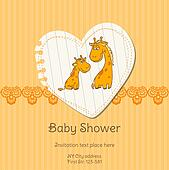 Baby Shower Card with Giraffe - with place for your text - in vector