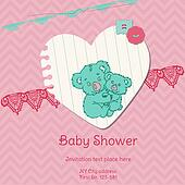 Baby Shower Card with Koala - with place for your text - in vector