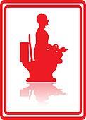 Toilet sitting.