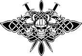 skulls in helmets and Celtic patterns