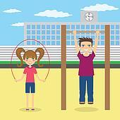 Children do sport near school.