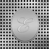letter E silver metal
