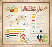 Big Vector set of Traffic Infographic elements