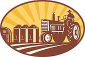 Farmer Driving Vintage Tractor Retro Woodcut