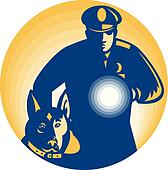 Security Guard Policeman Police Dog
