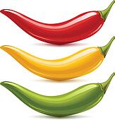 Hot chilli pepper vector set