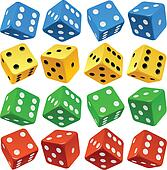 Game dice set. Vector red, yellow