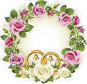 Rose circle wedding frame