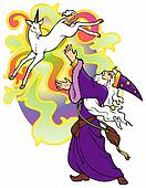 Wizard summoning a Unicorn