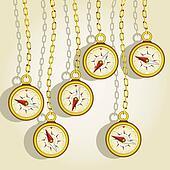 hanging golden compasses