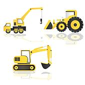 caricature of construction machinery