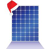 solar panel with new year hat vector illustration