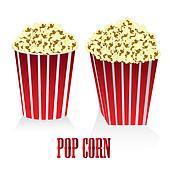 Circular and square box of popcorn