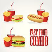 icons of fast food combos