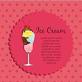 label ice cream on a pink background