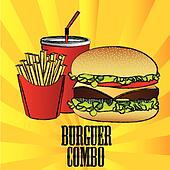 hamburger combo with french fries and soda
