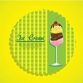 label ice cream on a green background