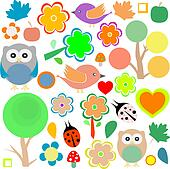 set birds and owls, trees and flowers background