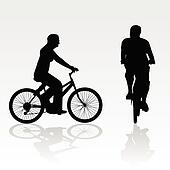 recreation on bike vector silhouette