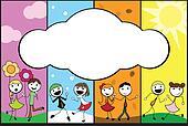 cartoon stick children background four seasons