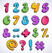 Cartoon 3d numbers set.