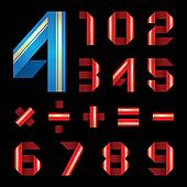 ABC font from coloured paper ribbon - set numerals
