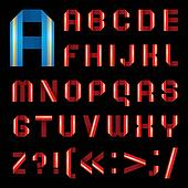ABC font from coloured paper ribbon - set letters