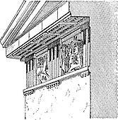 Metope, vintage engraving