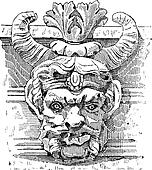 Grotesque Mask, vintage engraving