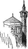 Minaret, vintage engraving