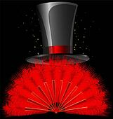 black top-hat and red feathers fan