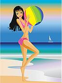 Girl beach with ball background