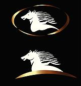 White and gold horse logo