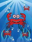 Crab Group Underwater