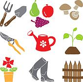 Colored gardening icons - tools and plants