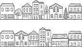 Illustration of houses and trees - background pattern