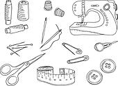 Illustration of sewing stuff and tools
